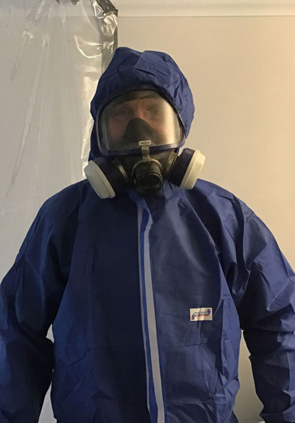 Asbestos removal suit and mask