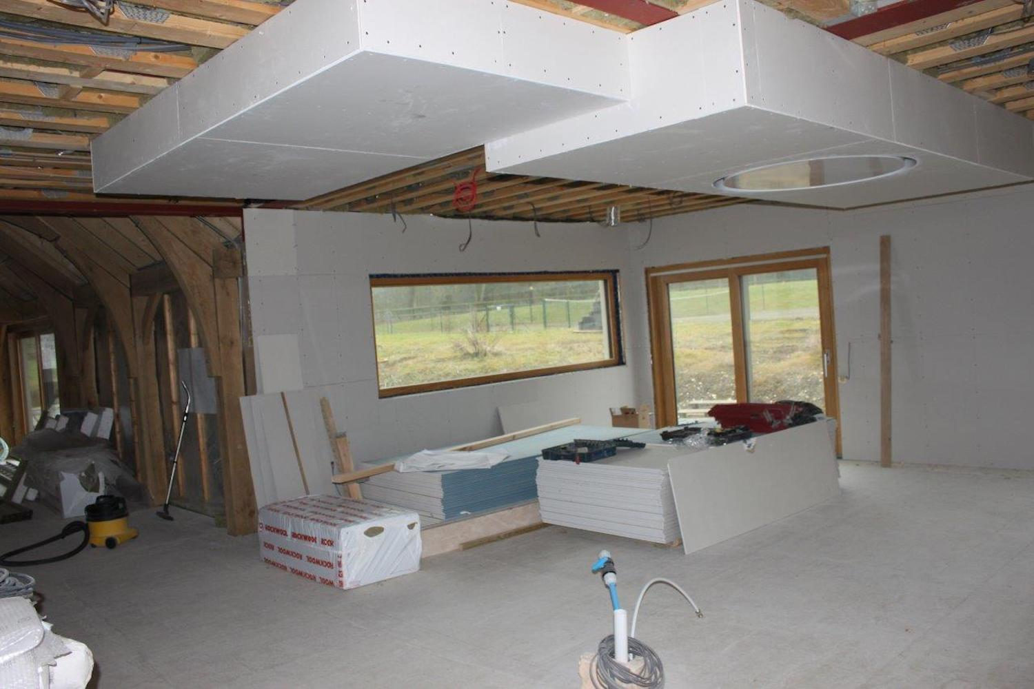 Kitchen ceiling extractor fan and ceiling detail to match island