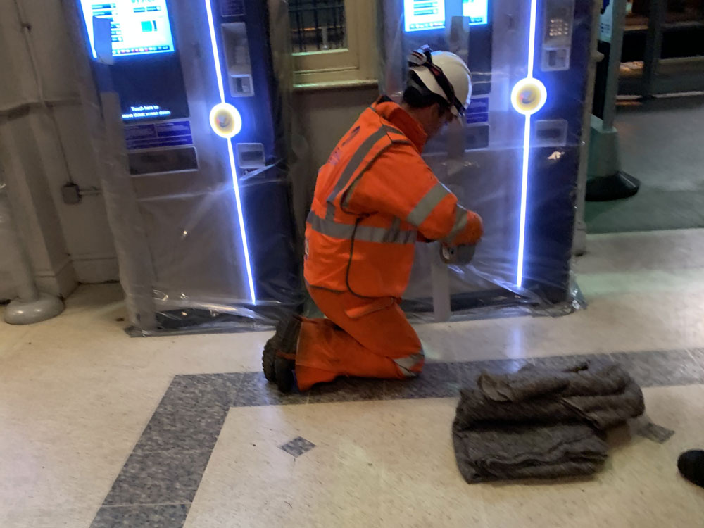 Ticket Machine being protected before our anti-slip process began